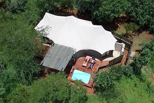 The Elephant Camp Safari Lodge Aerial View