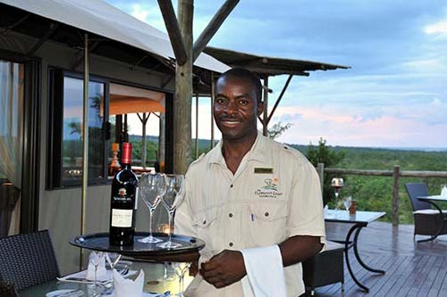 Dining - Waiter at The Elephant Camp Safari Lodge