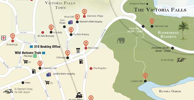 Map and guide of Victoria Falls Town