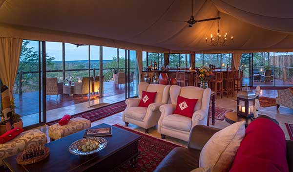 The Elephant Camp Safari Lodge lounge area